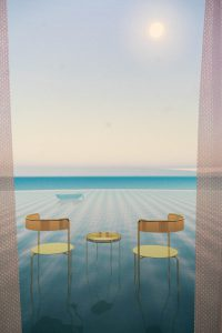 Illustration of two chairs overlooking water. There is a rowboat in the distance sitting on the water.