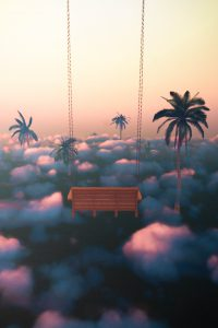 Illustration of a swing above clouds and palm trees.