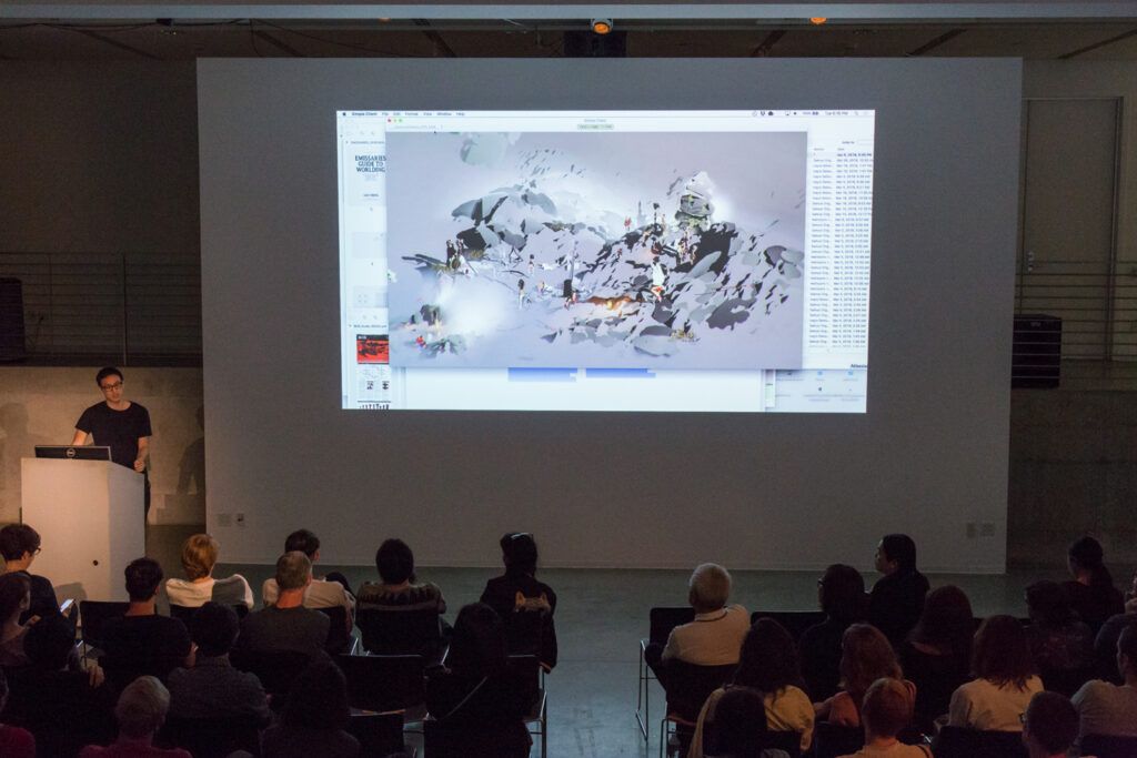 Ian Cheng showing early sketches of his video game simulation work.