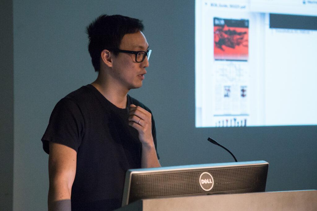 Ian Cheng at the pedestal.