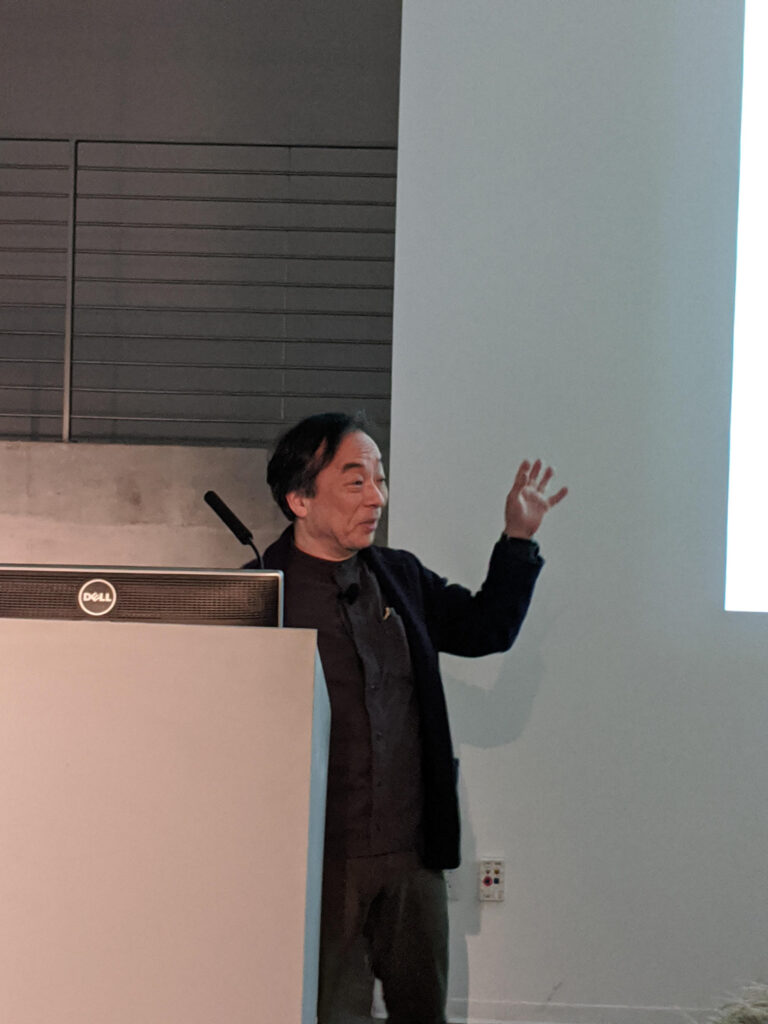 MASAKI FUJIHATA gestures to the crowd during his artist presentation in the EDA pit.