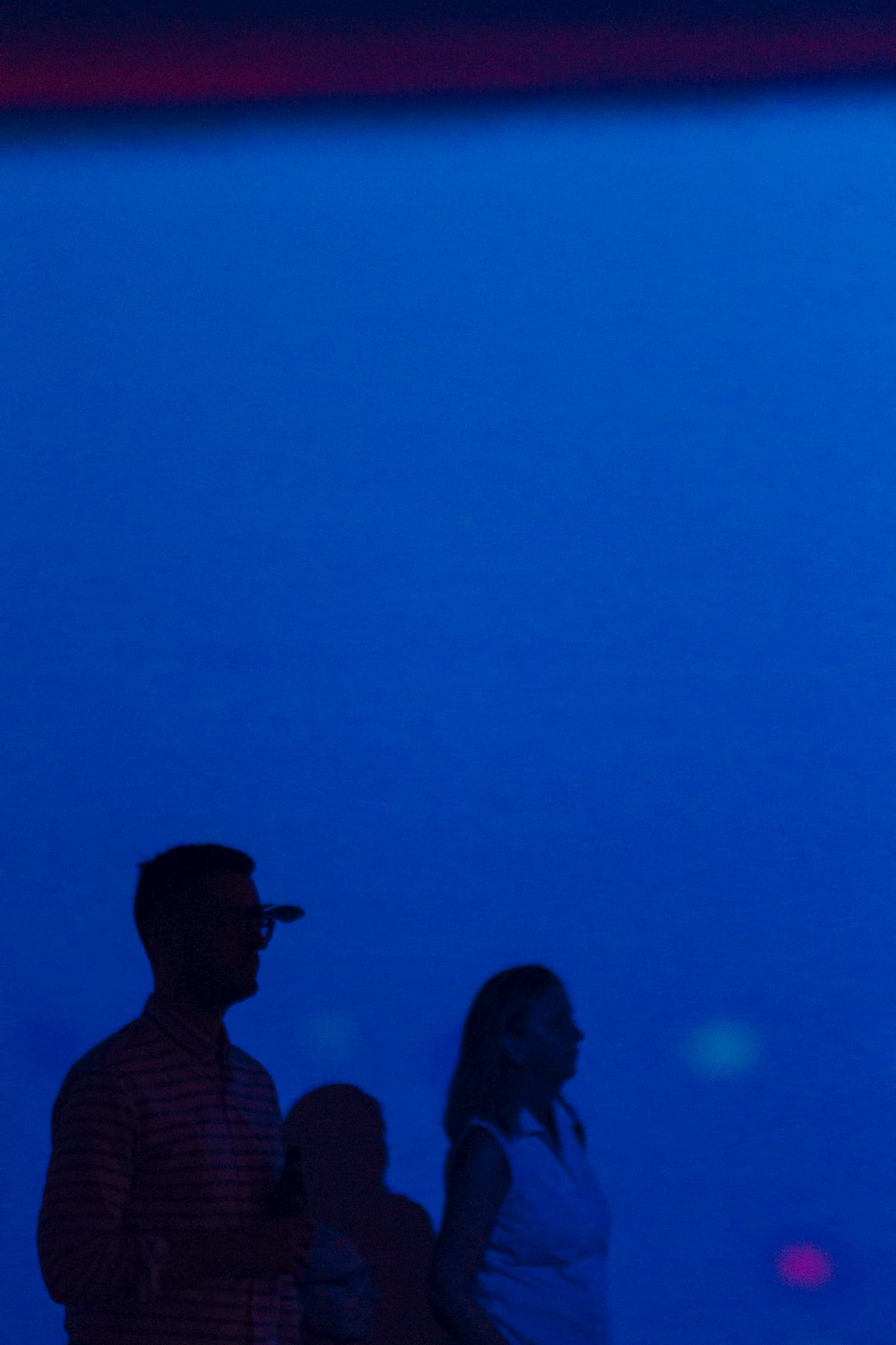 Three peoples shadows against Jack Turpin's solo show projection.