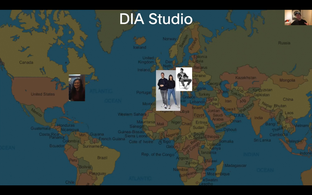 Mitch shows a map of where all the staff of DIA Studio is located.