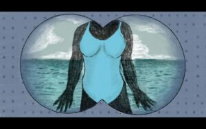 Binocular perspective focused on a woman standing in front of the ocean with a blue one piece on.