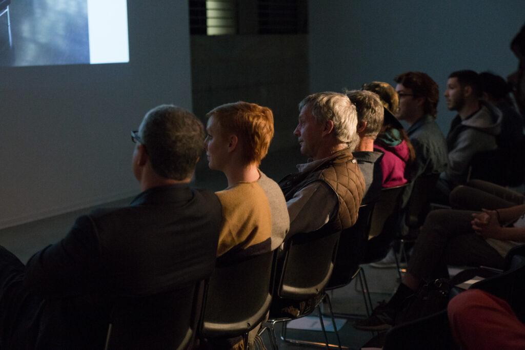 Audience listening to Helen Molesworth.