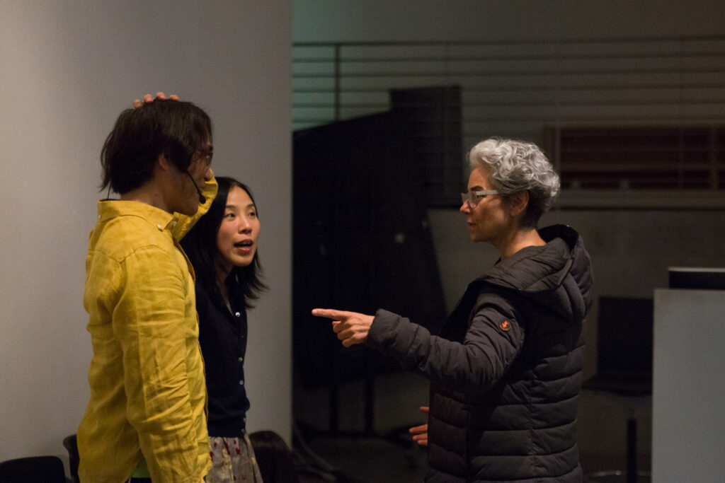 Toshio Iwai is discussing his work with Rebecca Mendez.