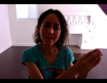 Screenshot of Carmen Argote explaining her work.