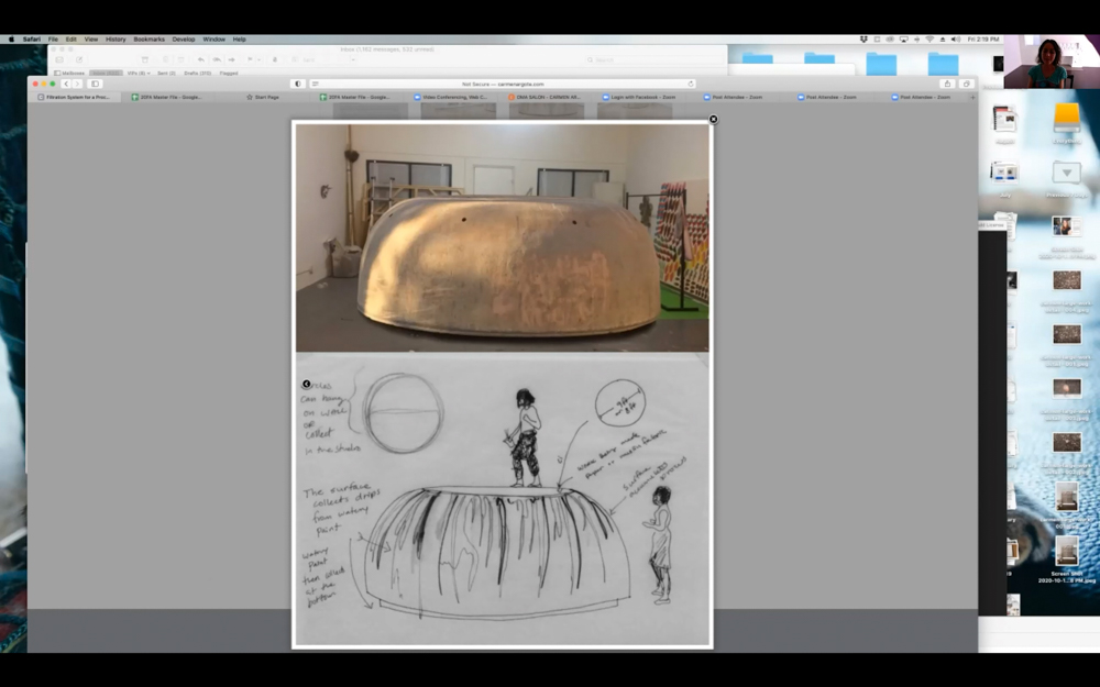 Pictured Top to Bottom: Carmen Argote's work, Carmen Argote's sketch of her work.