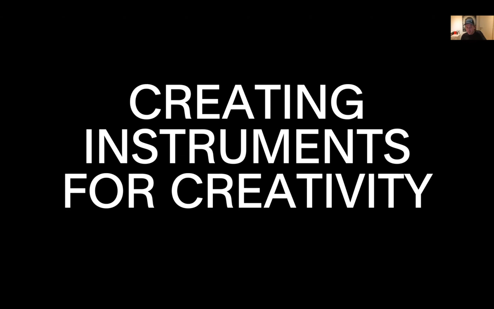 The words creating Instruments for creativity is shown on screen.