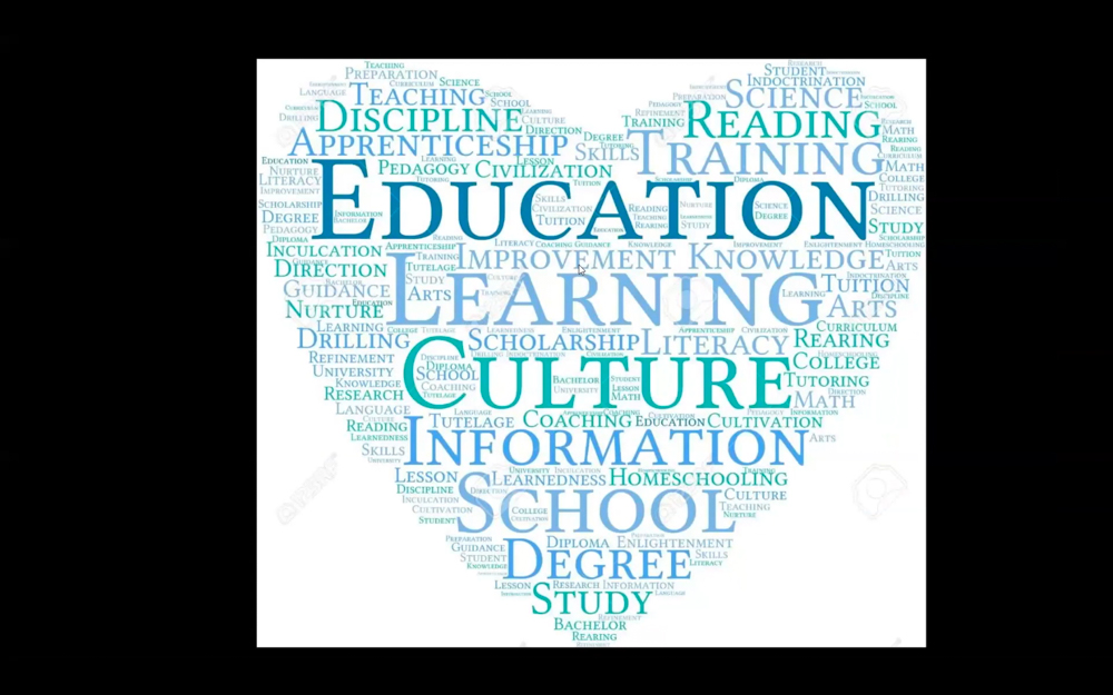 Picture of a heart with text about education, learning, information, etc.