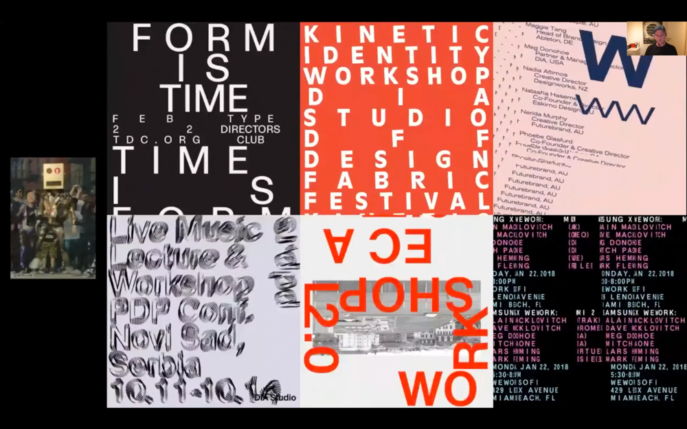 Mitch screen shares his moving typeface posters.