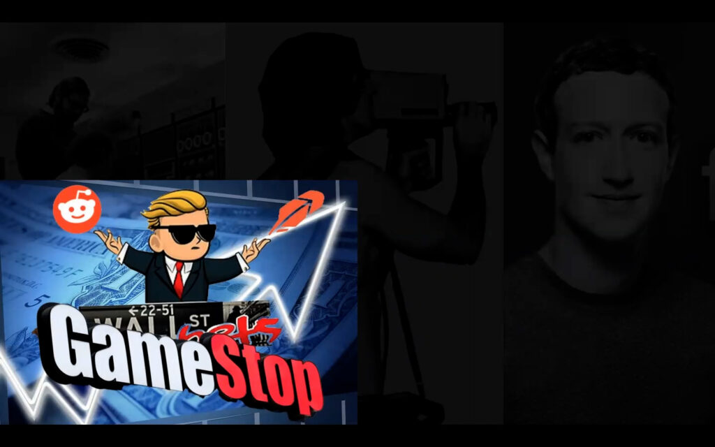 A GameStop Stonks Meme is pictured in the lower left corner of a powerpoint presentation.